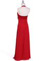 1186 Red Chiffon Evening Dress - Red, Back View Thumbnail