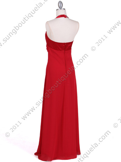 1186 Red Chiffon Evening Dress - Red, Back View Medium