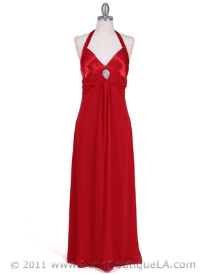 1186 Red Chiffon Evening Dress, Red
