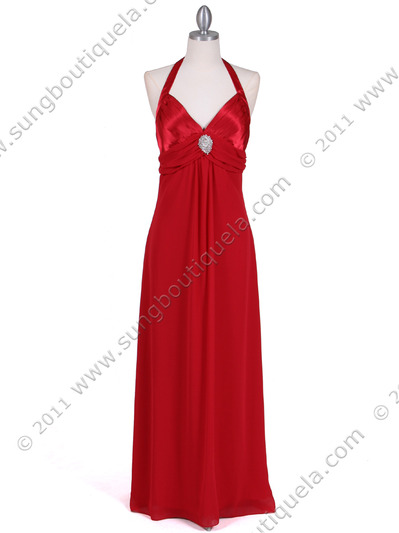 1186 Red Chiffon Evening Dress - Red, Front View Medium