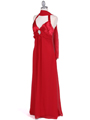1186 Red Chiffon Evening Dress - Red, Alt View Thumbnail