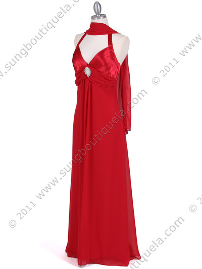 1186 Red Chiffon Evening Dress - Red, Alt View Medium