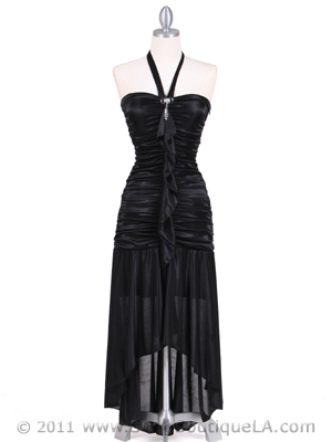 1191 Black Halter Hi-Low Evening Dress, Black