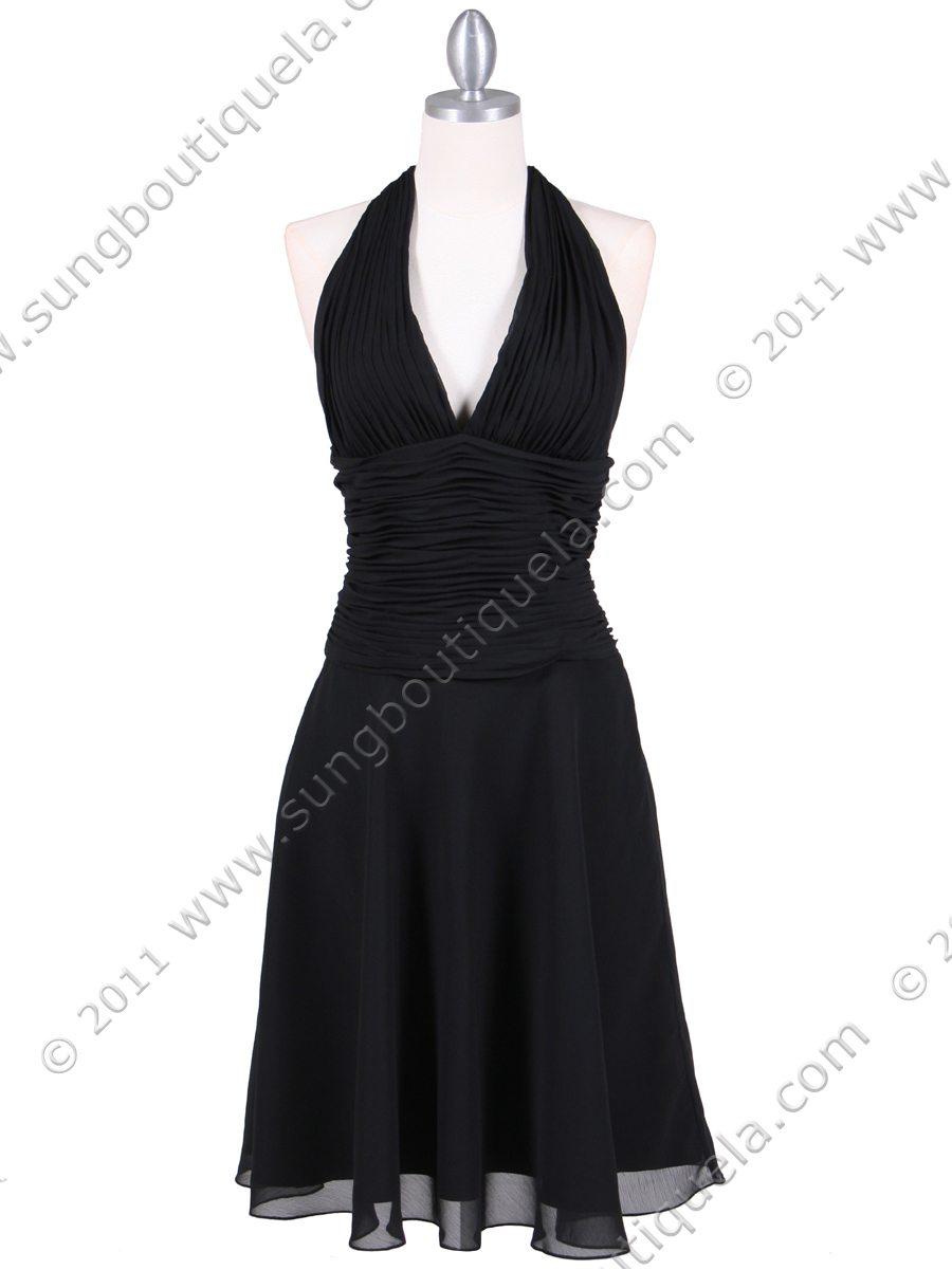 Black Chiffon Halter Cocktail Dress - Sung Boutique L.A.