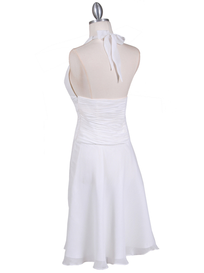 1200 Ivory Chiffon Halter Cocktail Dress - Ivory, Back View Medium