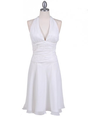 1200 Ivory Chiffon Halter Cocktail Dress, Ivory