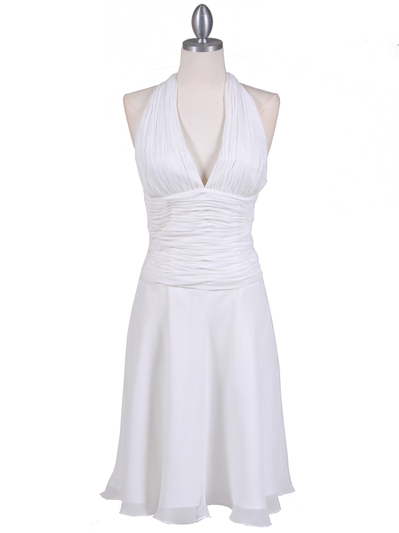 1200 Ivory Chiffon Halter Cocktail Dress - Ivory, Front View Medium
