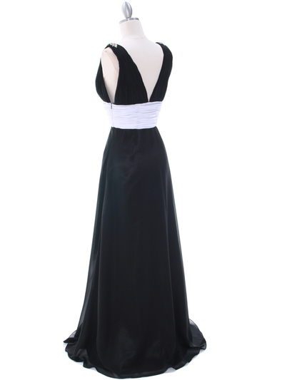 1210 Black White Evening Dress - Black, Back View Medium