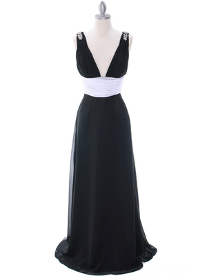 1210 Black White Evening Dress, Black