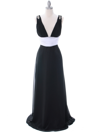 1210 Black White Evening Dress - Black, Front View Medium