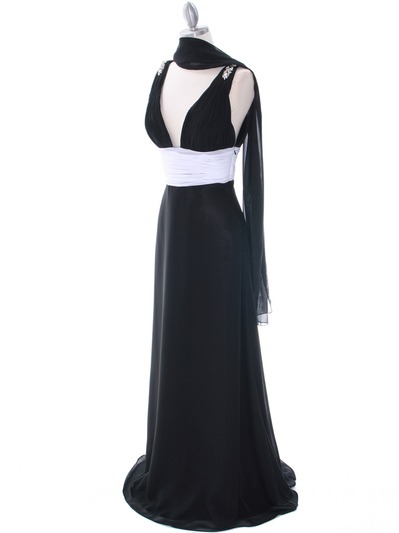 1210 Black White Evening Dress - Black, Alt View Medium