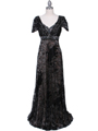 1227 Black Lace Evening Dress - Black, Front View Thumbnail