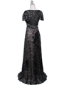 1227 Black Lace Evening Dress - Black, Back View Thumbnail