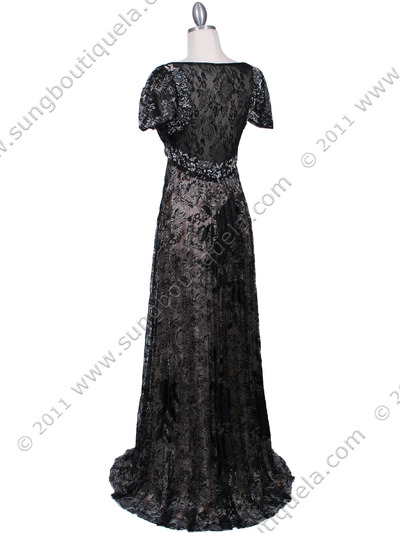 1227 Black Lace Evening Dress - Black, Back View Medium