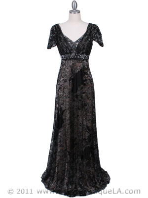 Black Lace Evening Dress - Front Image
