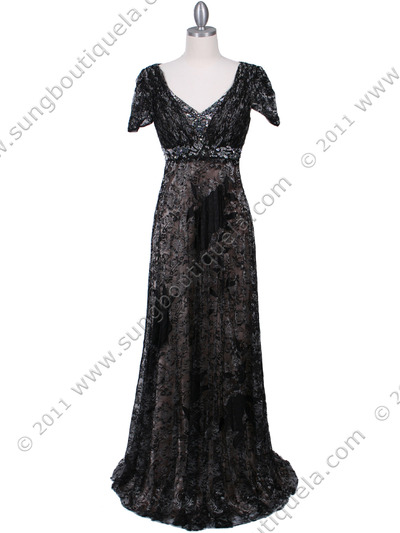 1227 Black Lace Evening Dress - Black, Front View Medium