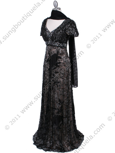 1227 Black Lace Evening Dress - Black, Alt View Medium
