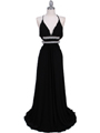 1249 Black Evening Gown - Black, Front View Thumbnail