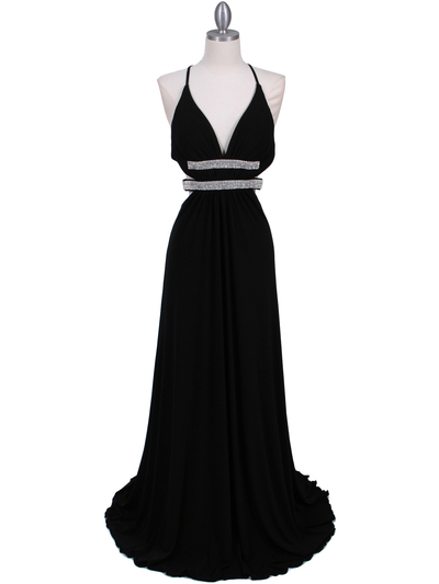 1249 Black Evening Gown - Black, Front View Medium
