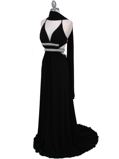 1249 Black Evening Gown - Black, Alt View Medium