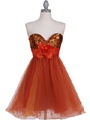 Orange Sequin Top Cocktail Dress - Front Image