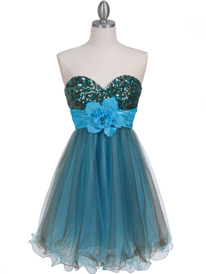 Turquoise Brown Sequin Top Cocktail Dress - Front Image