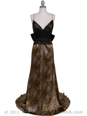 126 Animal Print Evening Gown, Brown