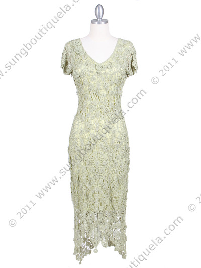 12959 Apple Green Flower Crochet Dress - Apple Green, Front View Medium