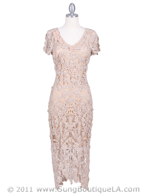 12959 Beige Flower Crochet Dress, Beige