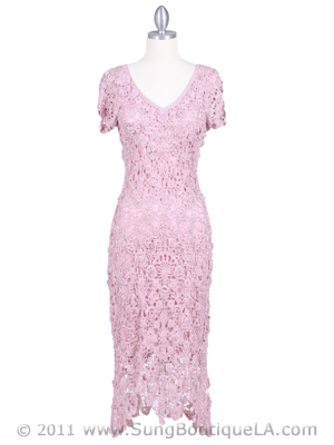 12959 Pink Flower Crochet Dress, Pink
