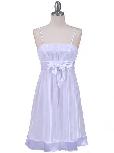 1302 White Giltter Cocktail Dress - White, Front View Medium