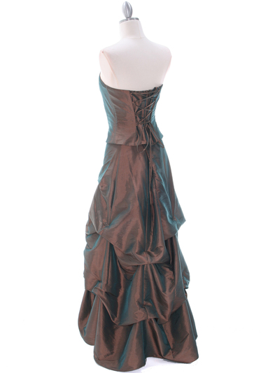 1304 Bronze Evening Gown - Bronze, Back View Medium
