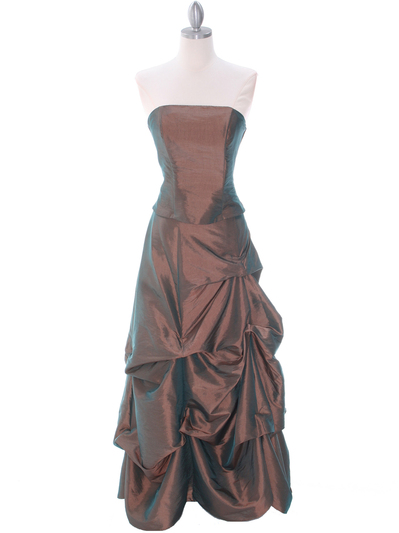 1304 Bronze Evening Gown - Bronze, Front View Medium