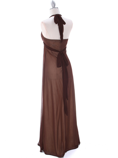 1333 Brown/Gold Evening Dress - Brown Gold, Back View Medium