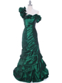 Olive One Shoulder Taffeta Evening Dress - Front Image