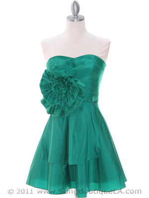 Green Taffeta Homecoming Dress - Front Image