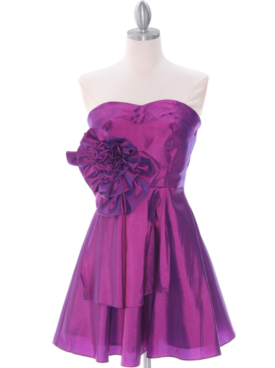 1337 Purple Taffeta Homecoming Dress - Purple, Front View Medium