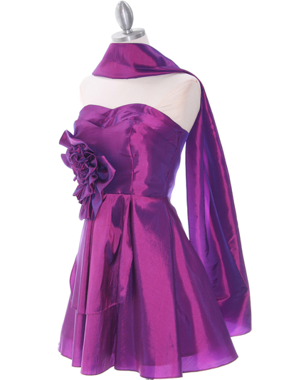 1337 Purple Taffeta Homecoming Dress - Purple, Alt View Medium