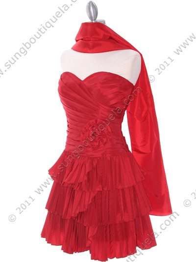Red Taffeta Tiered Cocktail Dress Sung Boutique L A