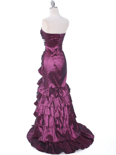 1341 Strapless Taffeta Prom Dress - Plum, Back View Medium