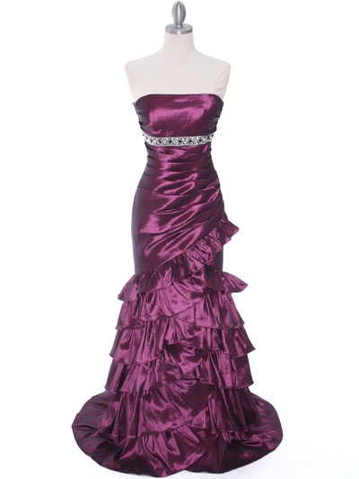 1341 Strapless Taffeta Prom Dress - Plum, Front View Medium