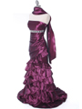 1341 Strapless Taffeta Prom Dress - Plum, Alt View Thumbnail
