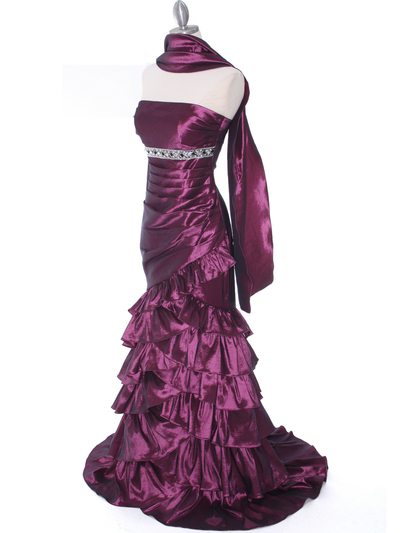 1341 Strapless Taffeta Prom Dress - Plum, Alt View Medium