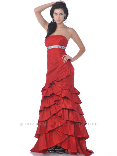 1341 Strapless Taffeta Prom Dress - Red, Front View Medium