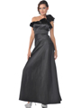 1348 One Shoulder Charmeus Evening Dress - Black, Front View Thumbnail