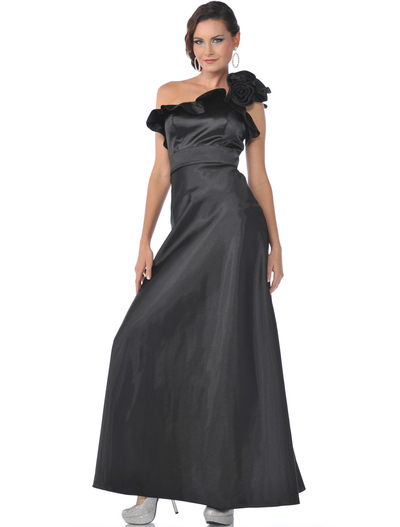 1348 One Shoulder Charmeus Evening Dress - Black, Front View Medium
