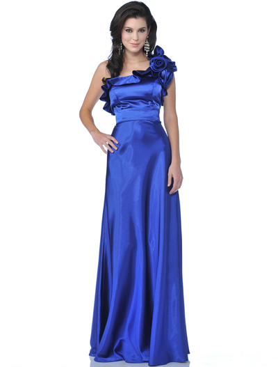 1348 One Shoulder Charmeus Evening Dress - Royal Blue, Front View Medium