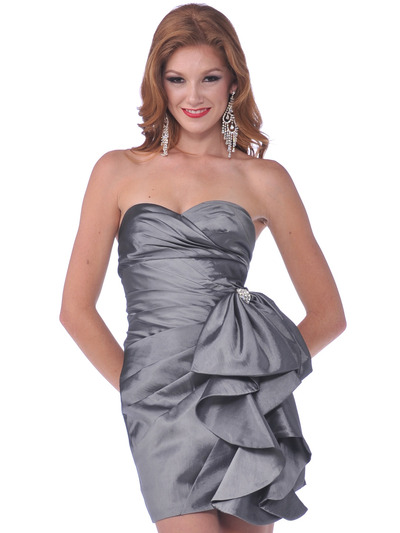 1351 Cocktail Dress with Oversize Bow - Charcoal, Front View Medium