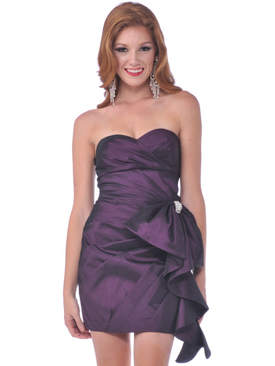1351 Cocktail Dress with Oversize Bow - Eggplant, Front View Medium