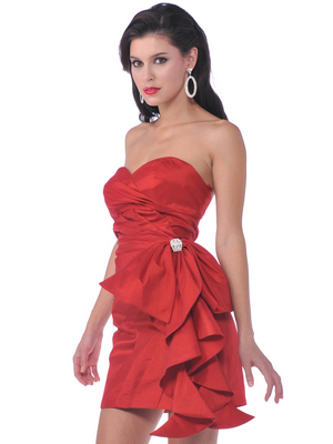 1351 Cocktail Dress with Oversize Bow, Red